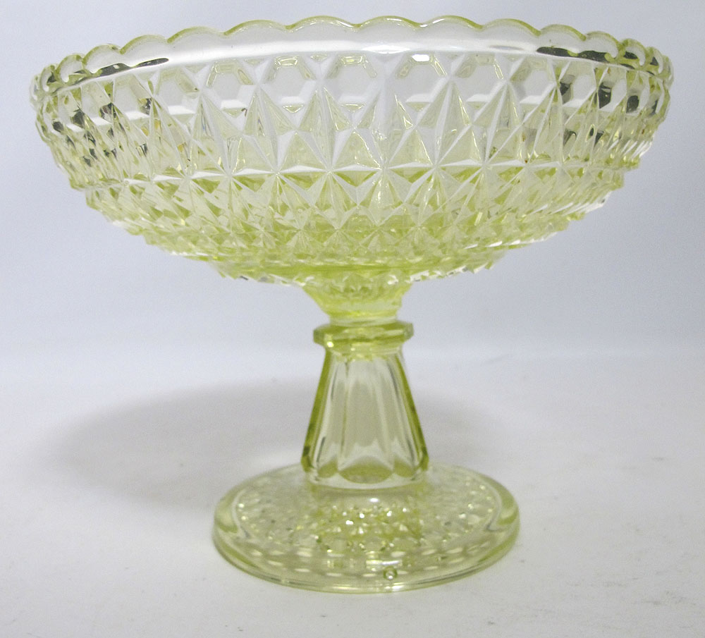 Beautiful antique eapg vaseline glass pedestal